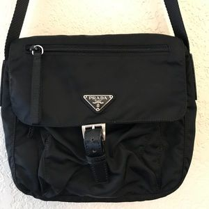 Prada Black Nylon Tessuto Messenger Bag